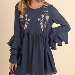 Ruffled bell Sleeve Floral Embroidery mini dress